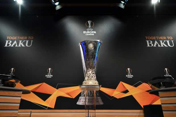 The UEFA Europa League football cup is displayed prior to the draw for the round of 32 of the UEFA Europa League football tournament at the UEFA headquarters in Nyon on December 17, 2018. (Photo by Fabrice COFFRINI / AFP)        (Photo credit should read FABRICE COFFRINI/AFP/Getty Images)