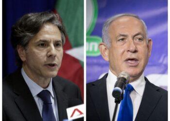 Foto kombinasi ini menunjukkan Menteri Luar Negeri Amerika Serikat Antony Blinken (kiri) dan Perdana Menteri Israel Benjamin Netanyahu. (Xinhua)
