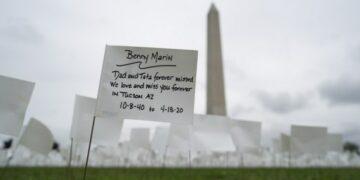Sejumlah bendera putih terlihat di National Mall di Washington DC, Amerika Serikat (AS), pada 17 September 2021. Lebih dari 660.000 bendera putih dipasang di tempat tersebut untuk menghormati para korban meninggal akibat COVID-19 di AS. (Xinhua/Liu Jie)