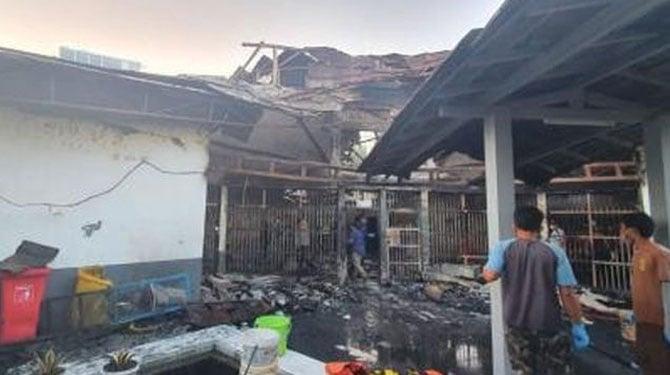 Bangunan Lapas Kelas 1 Tangerang paska kebakaran. /ist