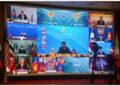 Foto yang diabadikan pada 26 Oktober 2021 ini memperlihatkan suasana Konferensi Tingkat Tinggi (KTT) ke-38 dan ke-39 Perhimpunan Bangsa-Bangsa Asia Tenggara (ASEAN) yang digelar melalui konferensi virtual di Bandar Seri Begawan, Brunei Darussalam. ASEAN pada Selasa (26/10) memulai KTT ke-38 dan ke-39 di bawah kepemimpinan Brunei Darussalam melalui konferensi virtual, dengan mengusung agenda utama memerangi pandemi COVID-19 dan mempromosikan pemulihan ekonomi. (Xinhua/Xue Fei)
